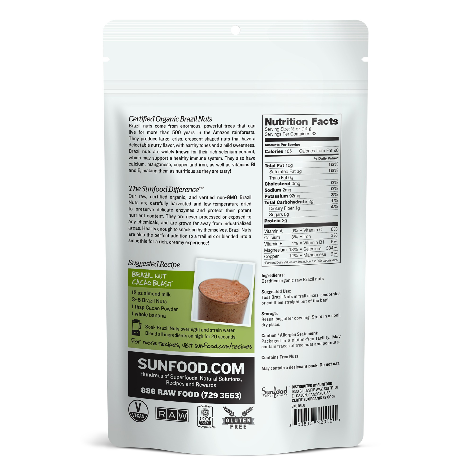 Hạt Brazil raw organic Sunfood 227g