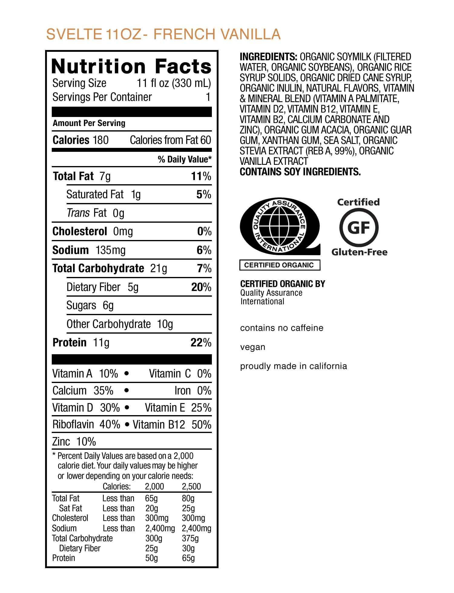 Nước uống protein shake thực vật vani organic Svelte 330ml