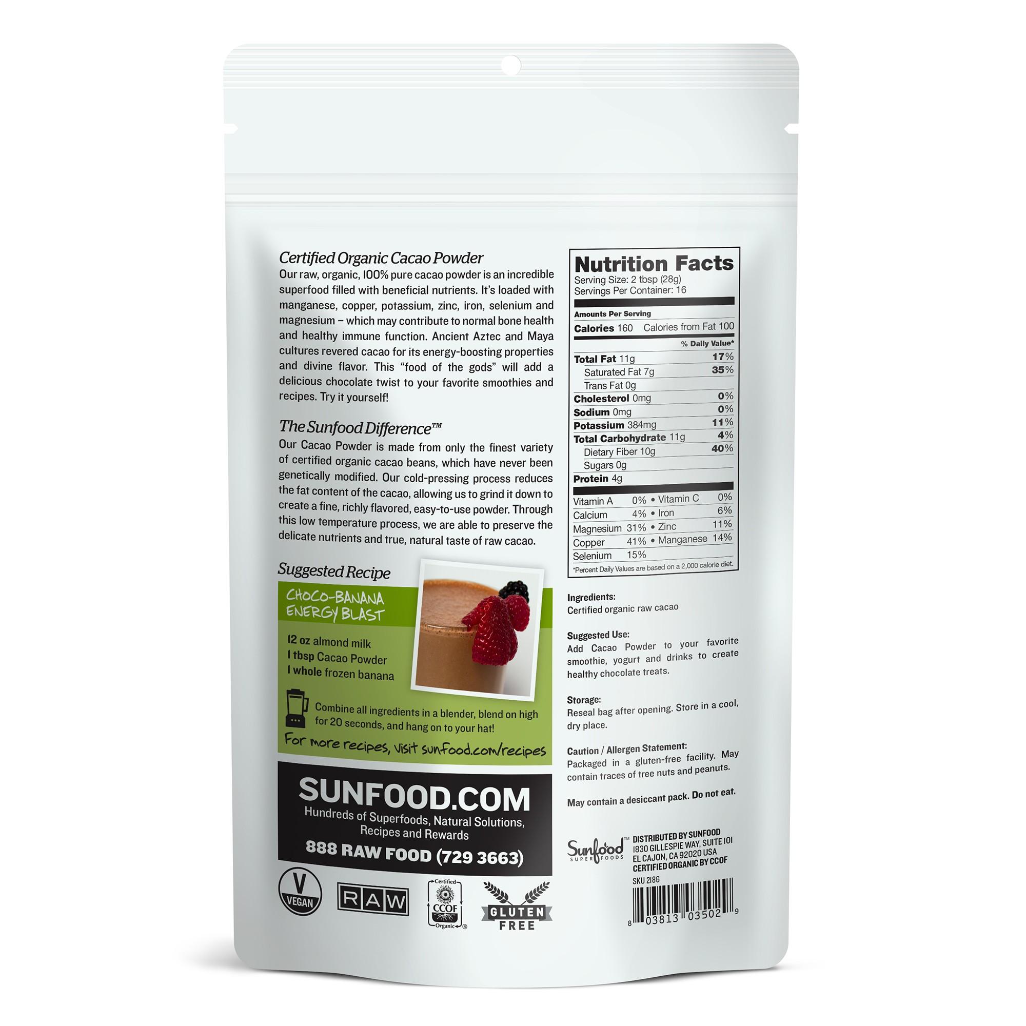 Bột cacao raw organic Sunfood 227g