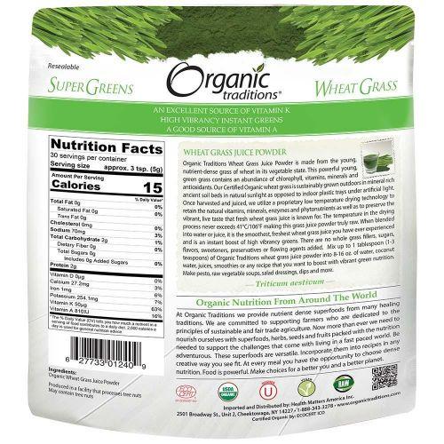 Bột nước ép cỏ lúa mì wheatgrass organic OrganicTraditions 150g