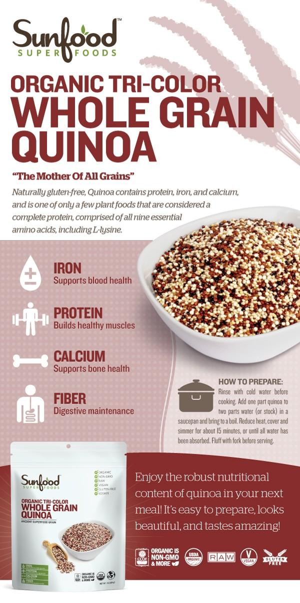Hạt diêm mạch quinoa 3 màu nguyên hạt organic Sunfood 454g