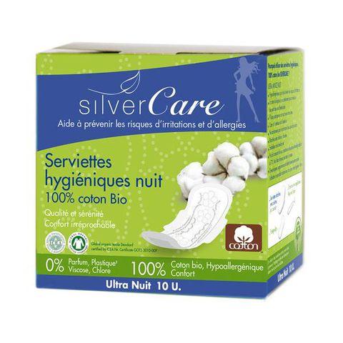 Băng vệ sinh phụ nữ siêu mỏng có cánh ban đêm organic Silvercare 10 miếng