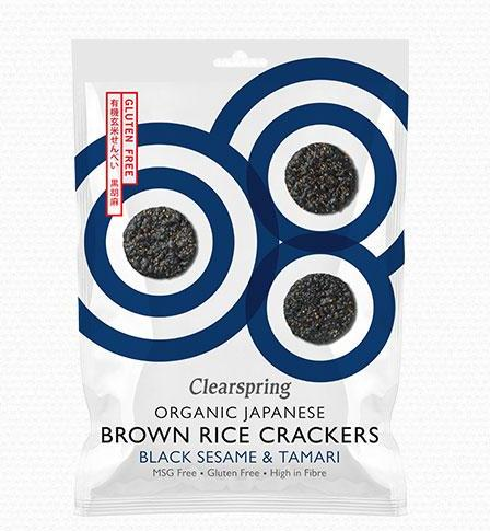 Organic brown rice & black sesame cracker Clearspring 40g