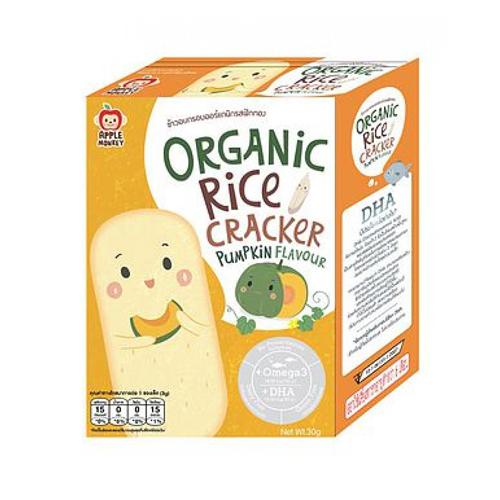 Bánh gạo ăn dặm vị bí đỏ không gluten Apple Monkey 30g