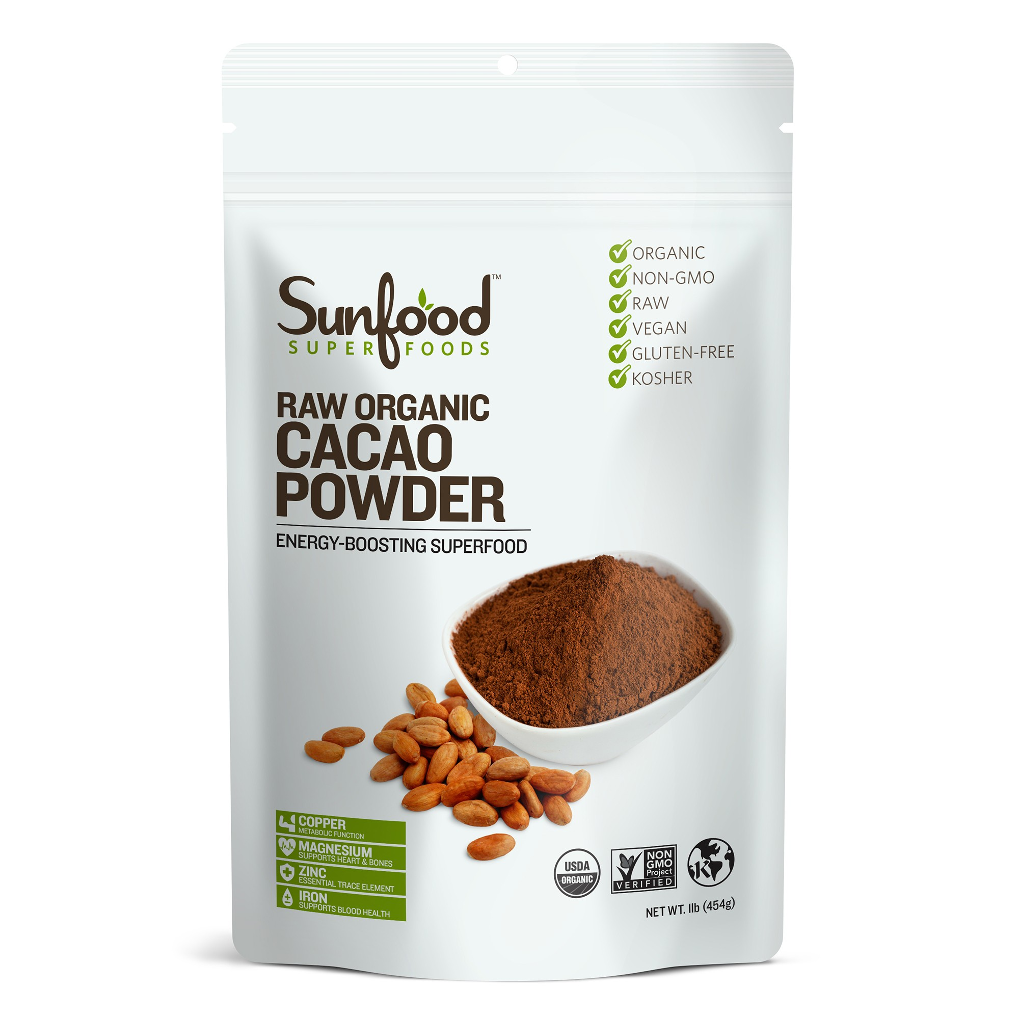 Raw organic cacao powder Sunfood 227g