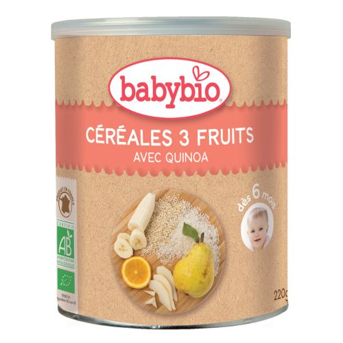 Organic 3 fruits cereals with quinoa 6 months+ BabyBio 220g