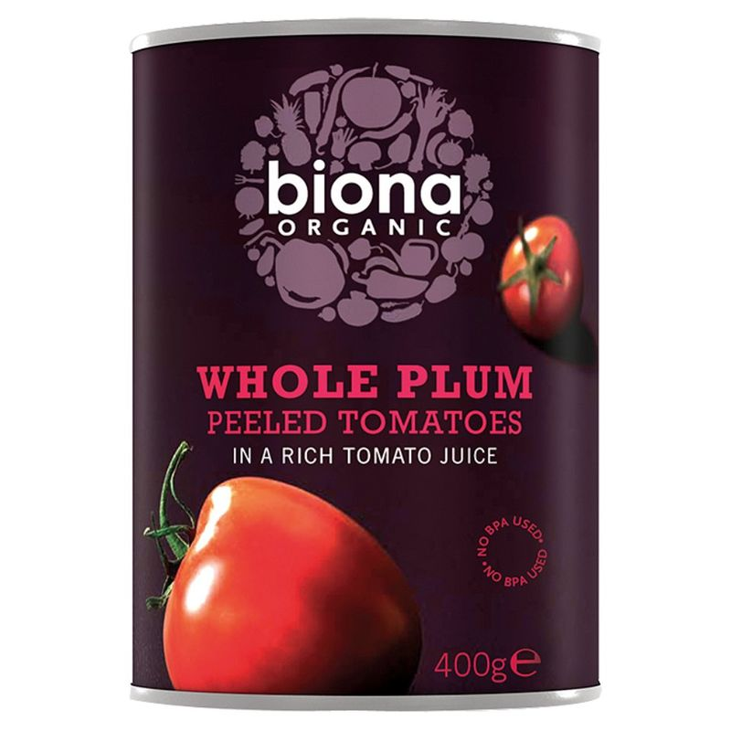 Organic whole plum peeled tomato Biona 400g