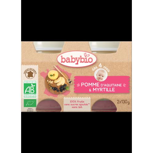 Gói 2 hũ táo & việt quất xay nhuyễn cho bé 4 tháng+ organic BabyBio 130g