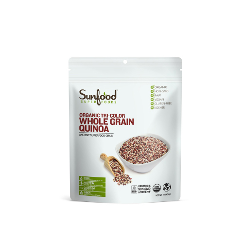 Organic whole grain quinoa tri-color Sunfood 454g