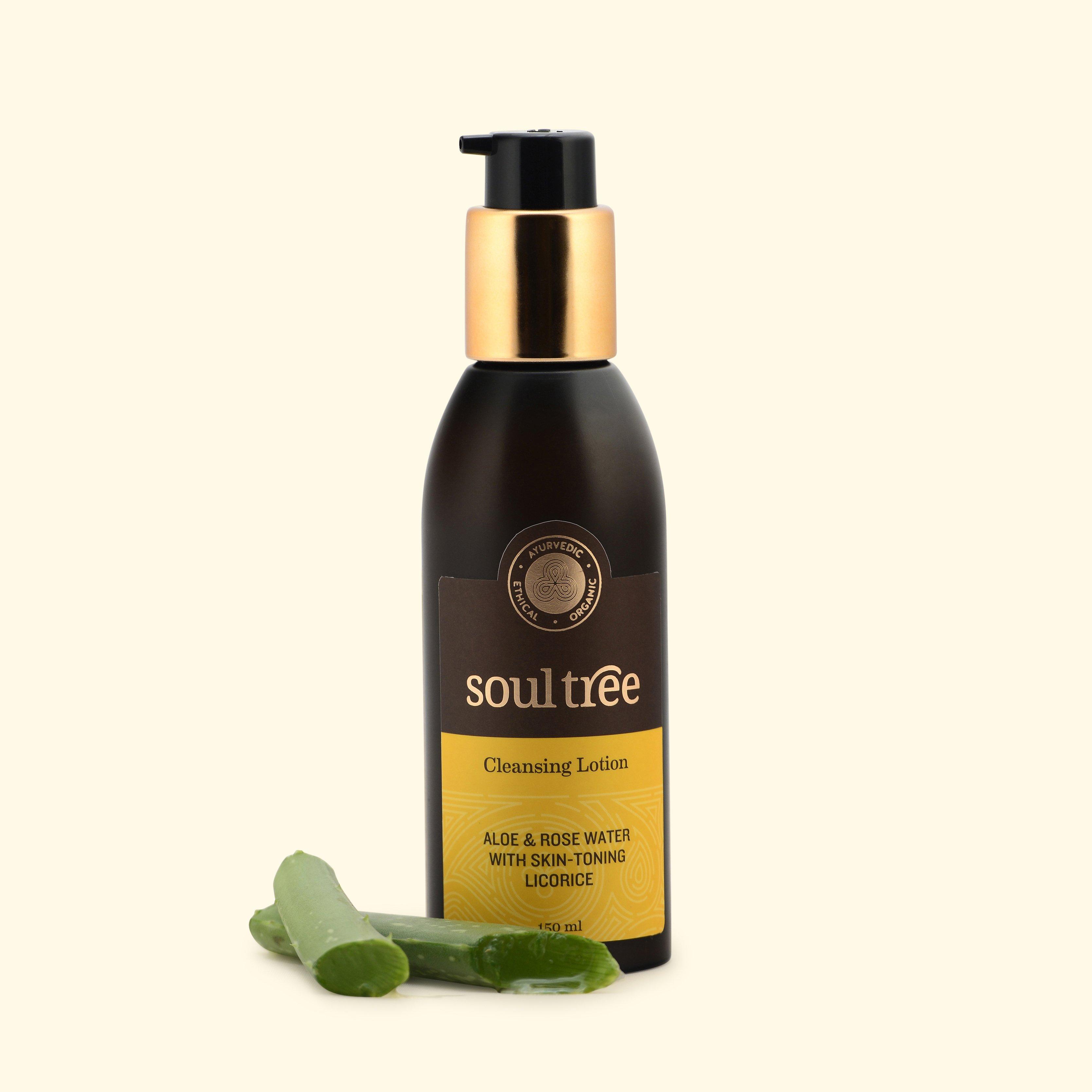 Lotion tẩy trang và làm sạch da thiên nhiên lô hội & nước hoa hồng Soultree 150ml