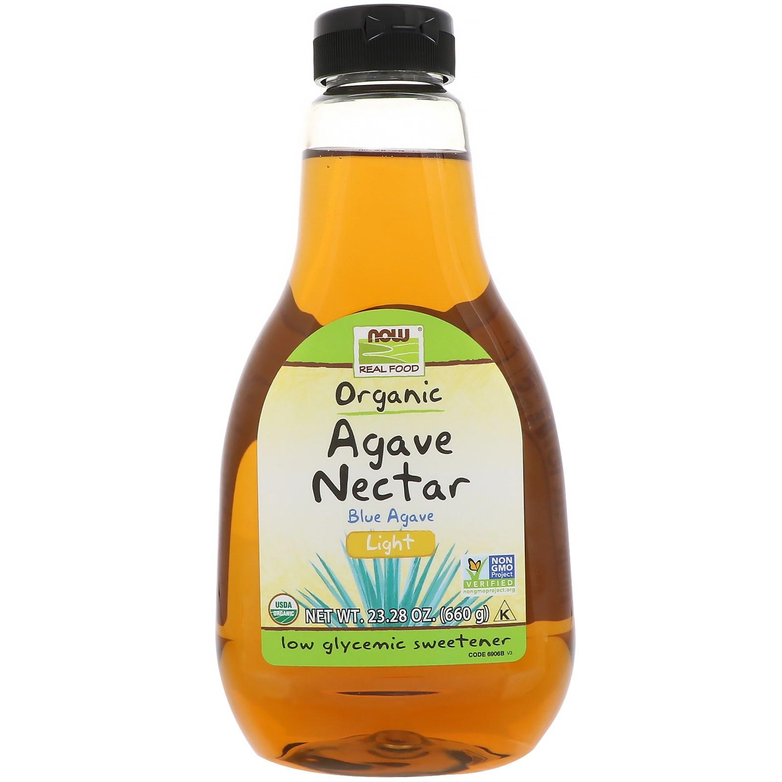 Mật cây thùa agave organic light Nowfoods 660g