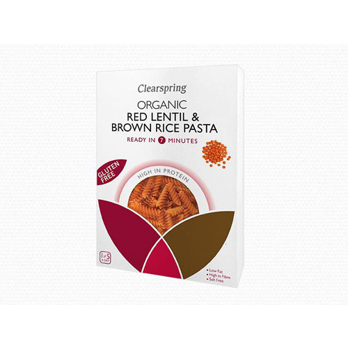 Organic red lentils & brown rice fusilli Clear Spring 250g