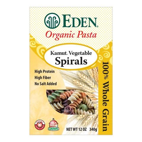 Nui xoắn lúa mì kamut vị rau củ organic Eden 340g