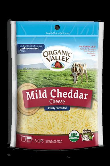Phô mai sợi shredded mild cheddar OrganicValley 170g