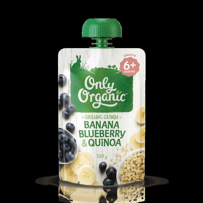 Thức ăn cho bé 6 tháng+ chuối việt quất & diêm mạch organic OnlyOrganic 120g
