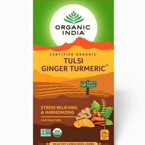 Trà hương nhu tulsi nghệ gừng Organic India 25 gói