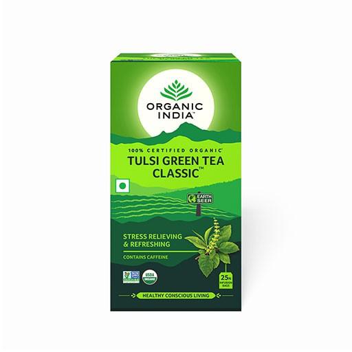 Trà xanh hương nhu tulsi green tea giảm căng thẳng Organic India 25 gói