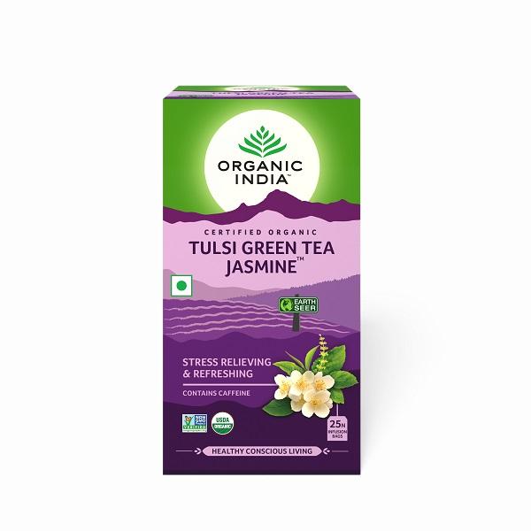Trà xanh hương nhu tulsi hoa nhài giảm căng thẳng Organic India 25 gói